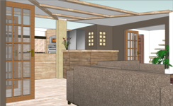 Apartment Proposal - 3D animation demonstrating kitchen, lounge, hallway & stairs to mezzanine